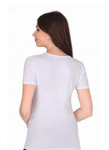 Sensu Kadın V Yaka Basic T-Shirt Beyaz Renk Tsr1004 Renkli